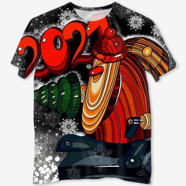 Футболка с полной запечаткой «Дед Мороз 2.0 - 2.1. Ночь . Новогодняя сказка. Чудо. Волшебство.»