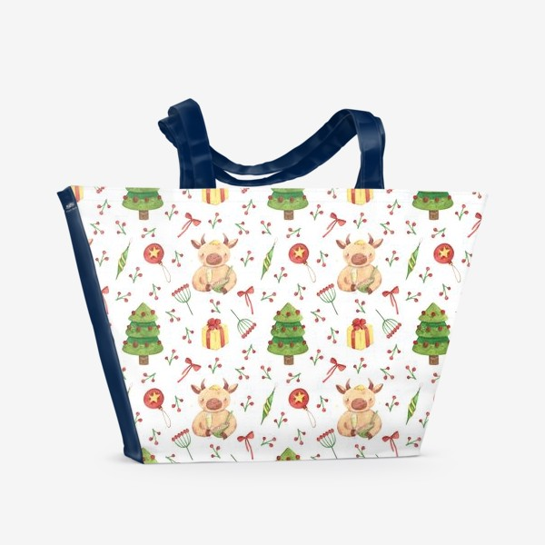 Пляжная сумка «Бычок с бокалом и оливье. Новогодний акварельный паттерн. »