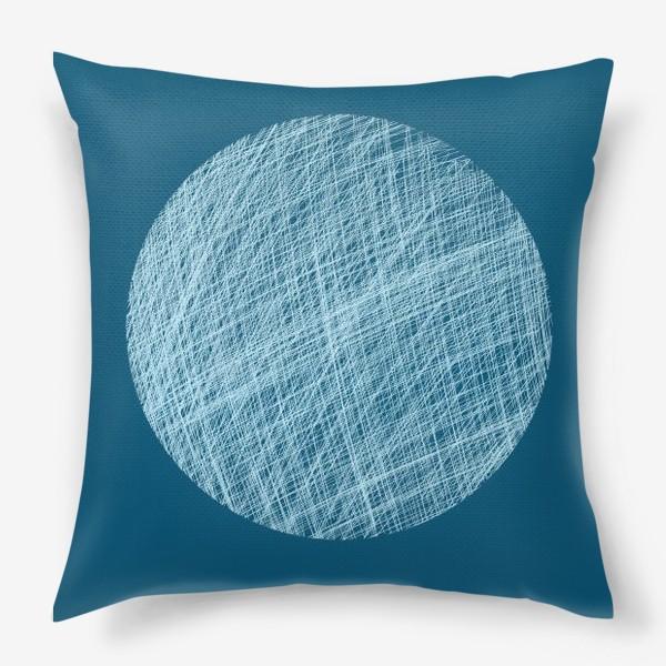 Подушка «Луна, абстракция на синем»