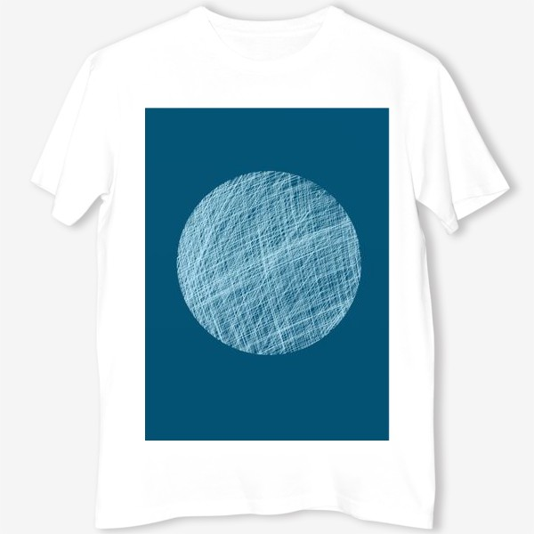 Футболка «Луна, абстракция на синем»