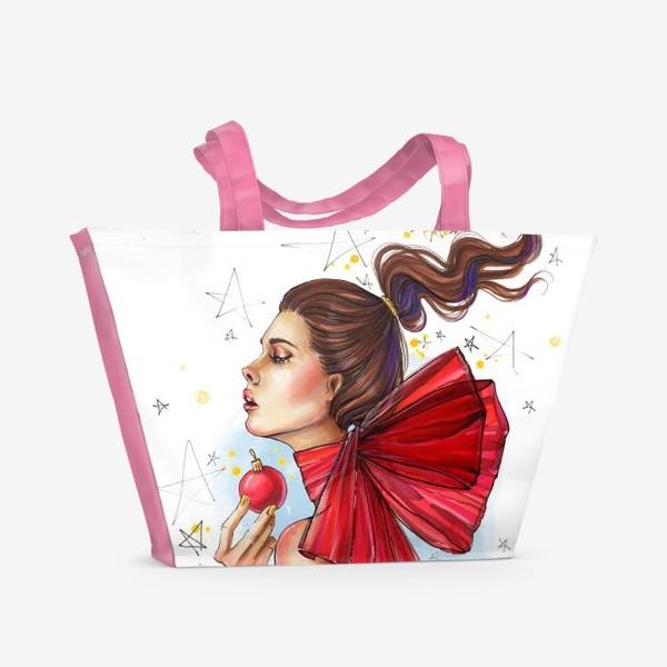 Пляжная сумка «Новогодняя дева с елочным шаром »