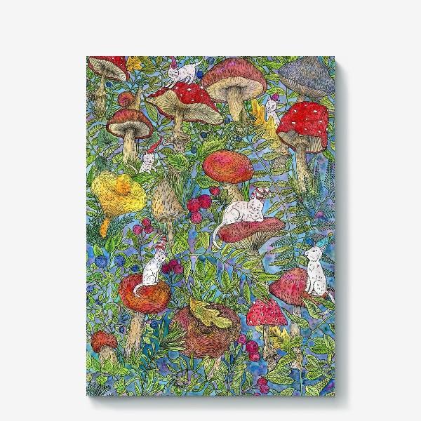 Холст «Лесная сказка с грибами и котами»