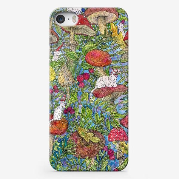 Чехол iPhone «Лесная сказка с грибами и котами»