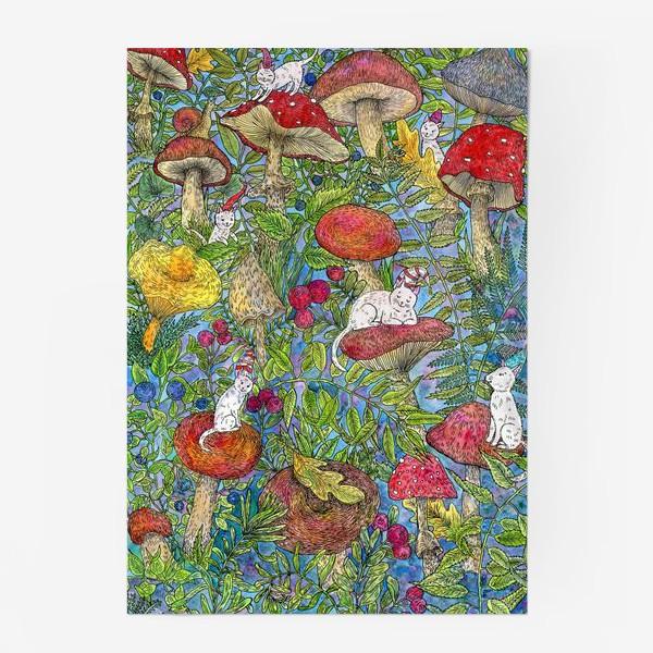 Постер «Лесная сказка с грибами и котами»