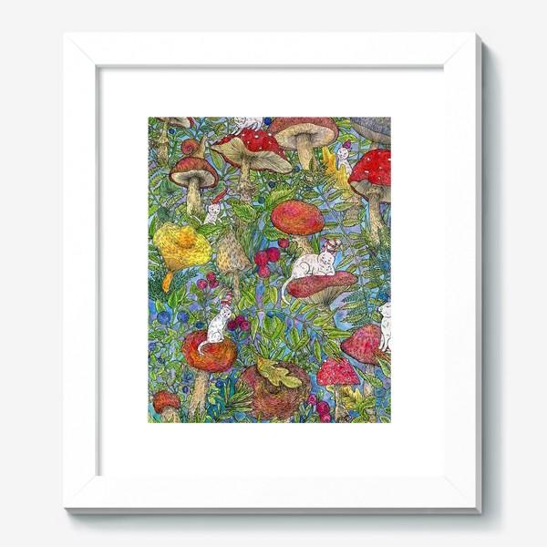 Картина «Лесная сказка с грибами и котами»