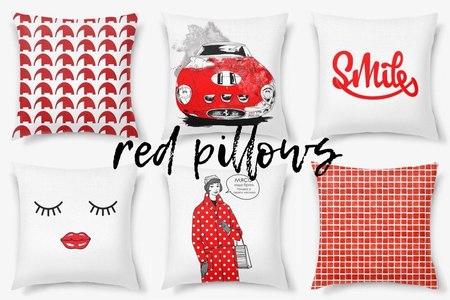Красные декоративные подушки от PinkBus