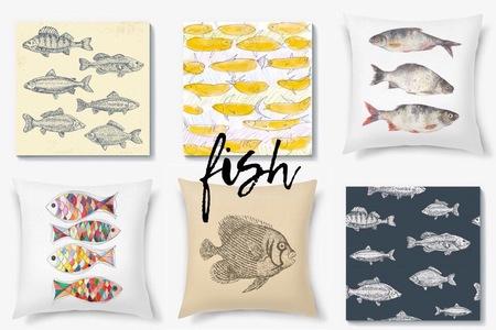 Декоративные подушки и скатерти с рыбами от PinkBus