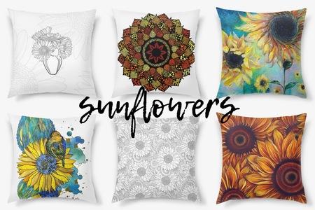 Подсолнухи на картинах и декоративных подушках