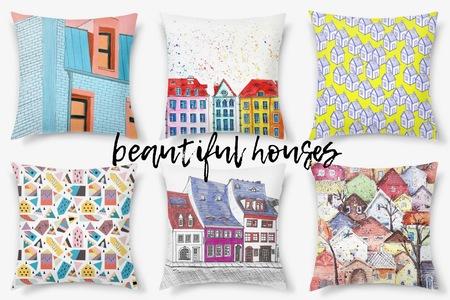 Принты с домиками на декоративных подушках